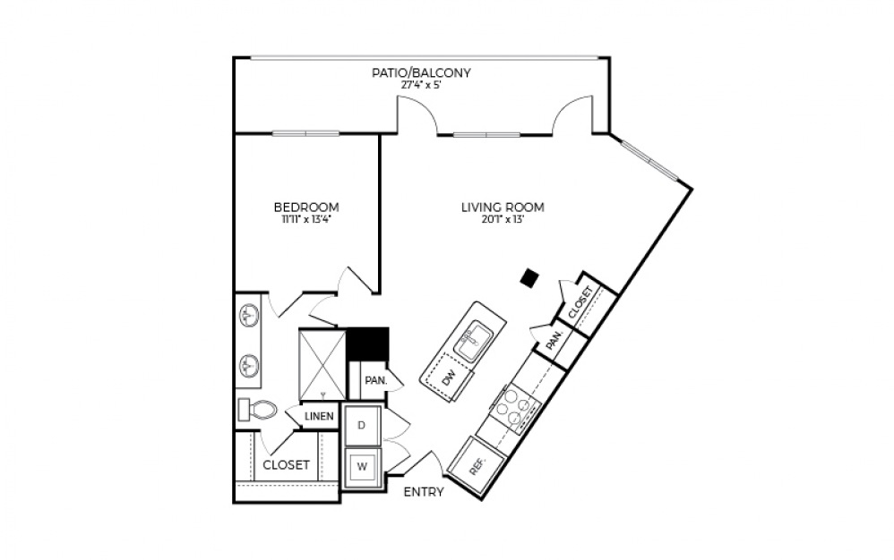 A6S-1 - 1 bedroom floorplan layout with 1 bath and 858 square feet.