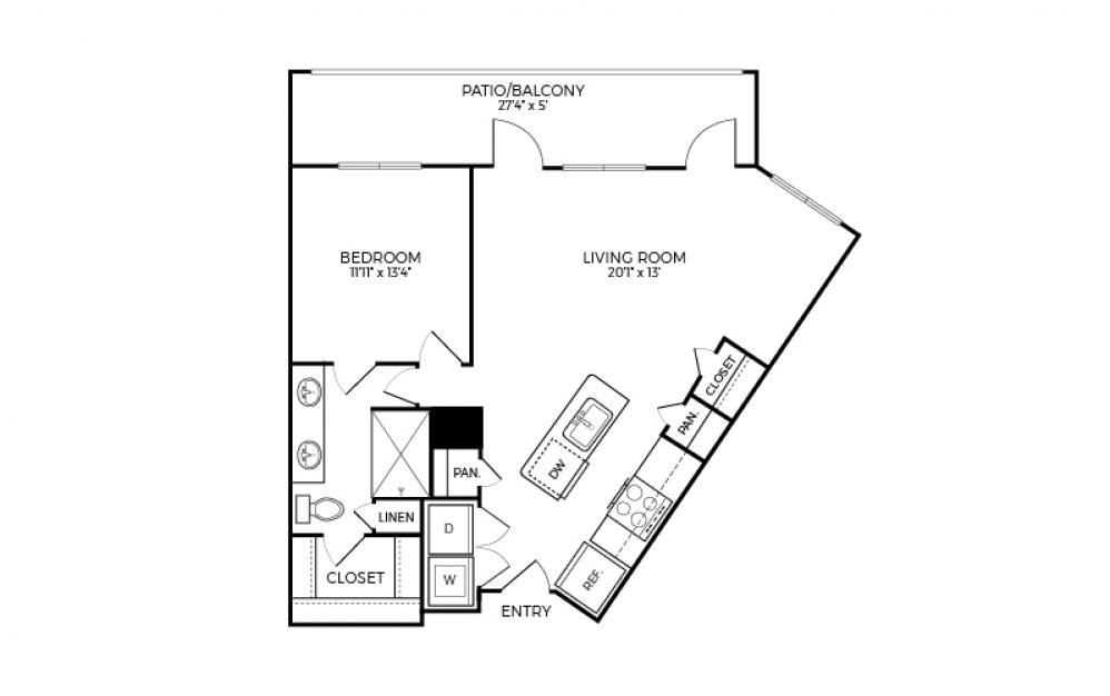 A6S - 1 bedroom floorplan layout with 1 bath and 858 square feet.