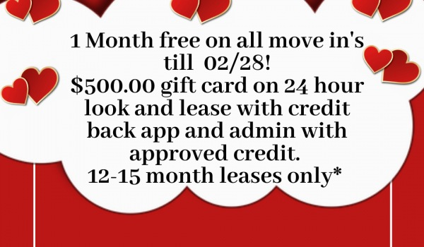 One Month Free! 12-15 Month Leases!!