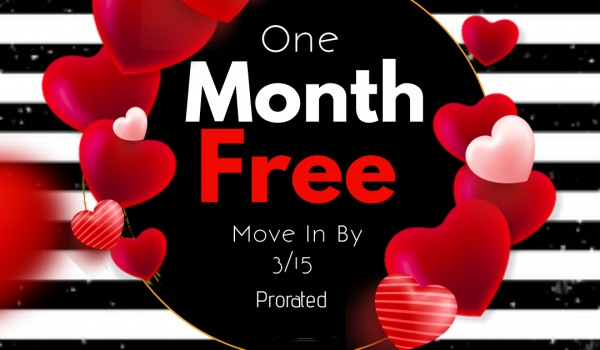 One Month Free Pro Rated! 12-15 Month Leases!!