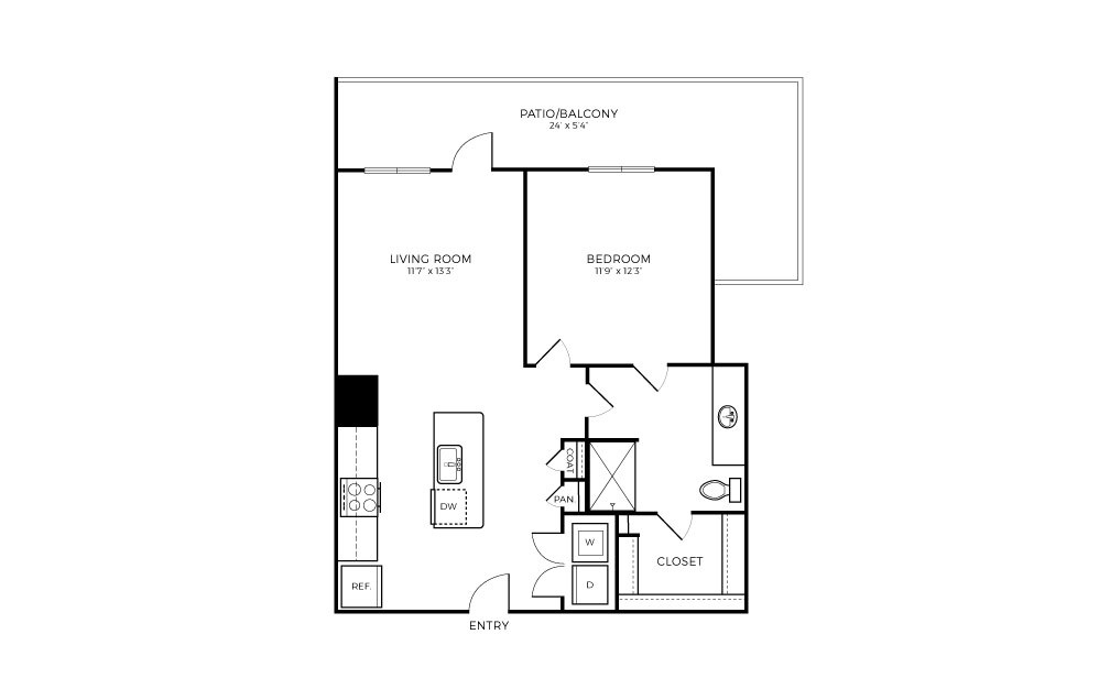 A2S-1 - 1 bedroom floorplan layout with 1 bath and 700 square feet.