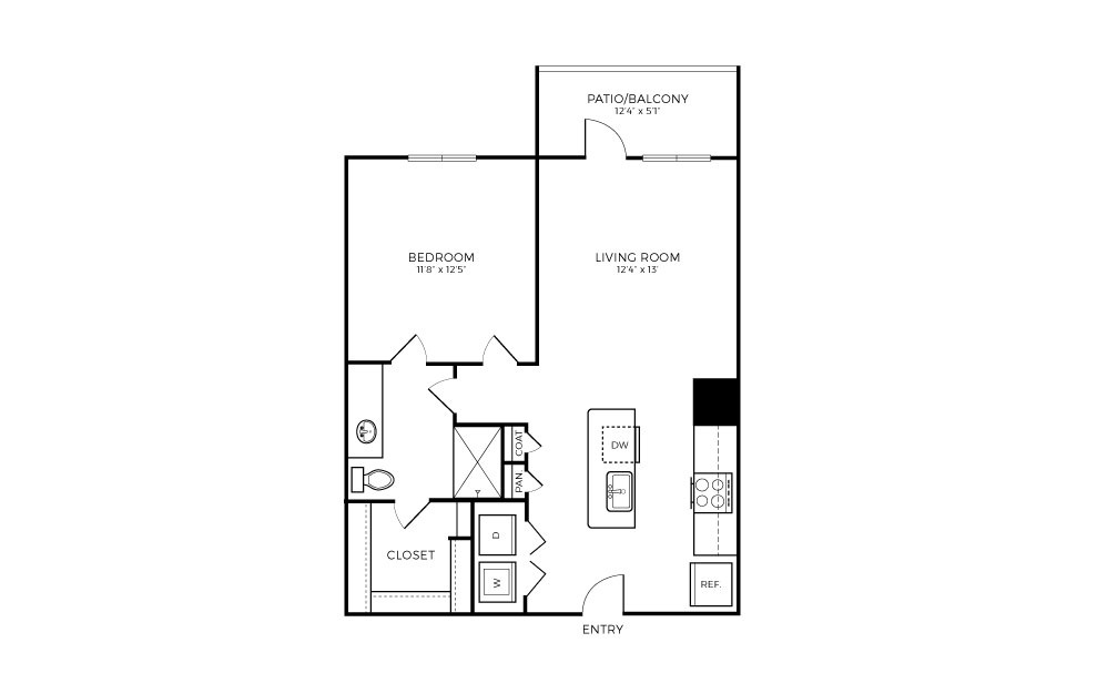 A2S - 1 bedroom floorplan layout with 1 bath and 672 square feet.