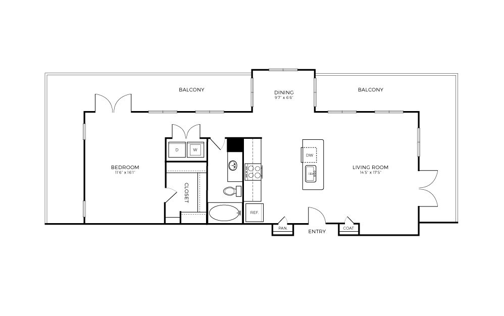 A7 - 1 bedroom floorplan layout with 1 bath and 883 square feet.