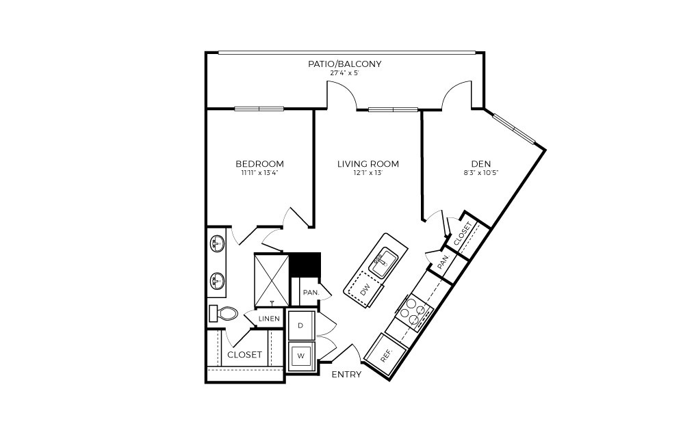 A6S-D - 1 bedroom floorplan layout with 1 bath and 858 square feet.