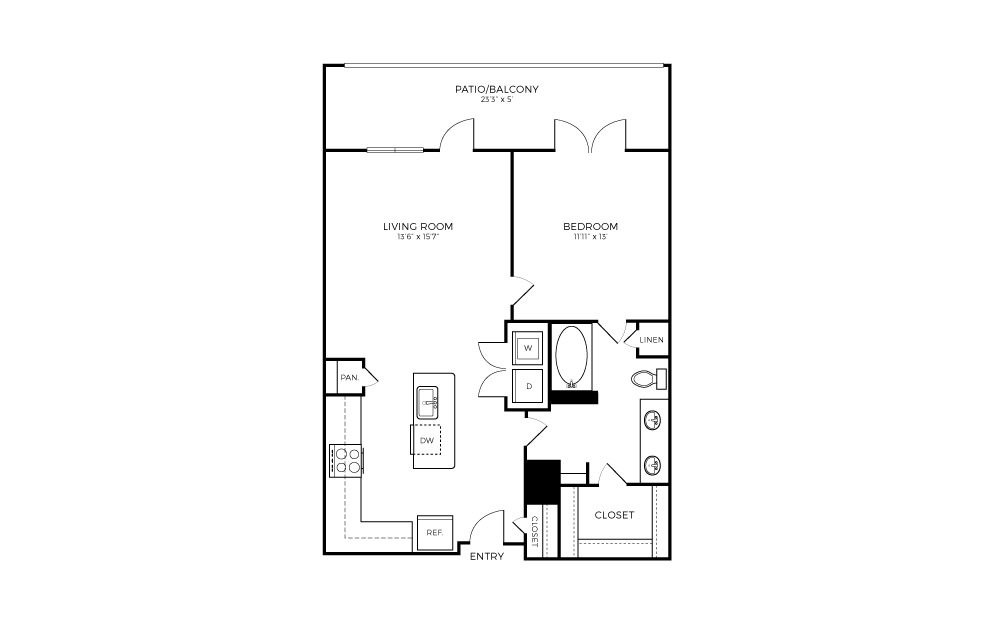 A3-1 - 1 bedroom floorplan layout with 1 bath and 768 square feet.