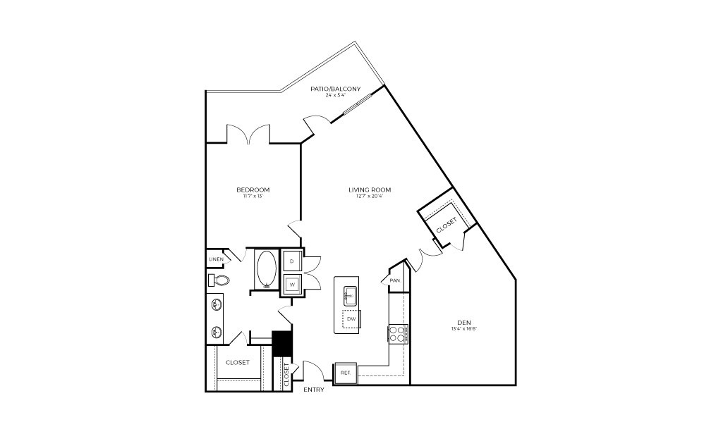 A8-D - 1 bedroom floorplan layout with 1 bath and 1037 square feet.