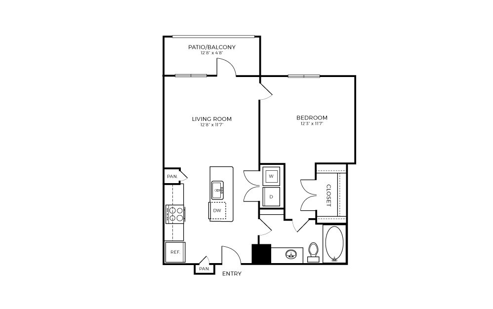 A1-2 - 1 bedroom floorplan layout with 1 bath and 624 square feet.