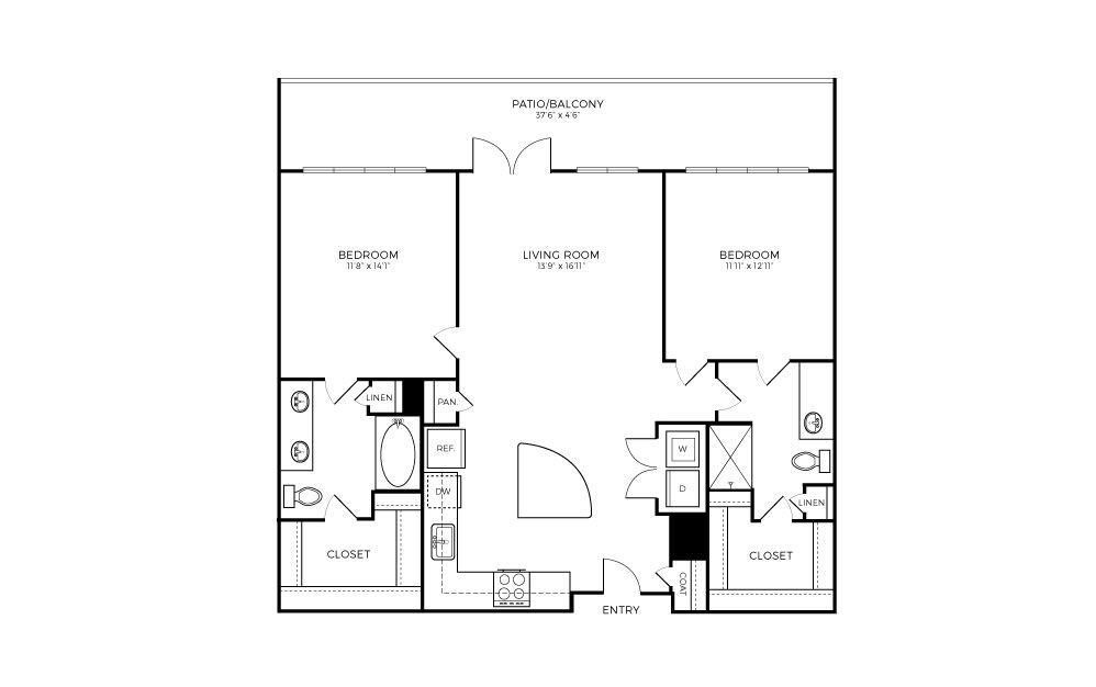 B3 - 2 bedroom floorplan layout with 2 baths and 1119 square feet.