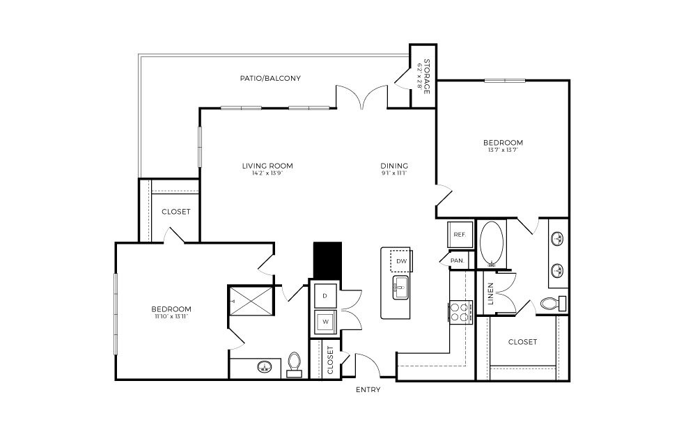 B5 - 2 bedroom floorplan layout with 2 baths and 1228 square feet.